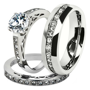 His & Hers Stainless Steel 1.39 Ct Cz Bridal Set & Men's Eternity Wedding Band