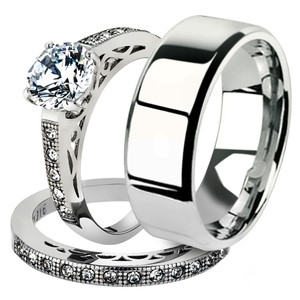 His & Her 3pc Stainless Steel 1.39 Ct Cz Bridal Ring Set & Men Beveled Edge Band