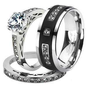 His & Her 3pc Stainless Steel 1.39 Ct Cz Bridal Set & Mens Titanium Wedding Band