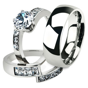 His & Her 3pc Stainless Steel 2.50 Ct Cz Bridal Set & Men's Classic Wedding Band