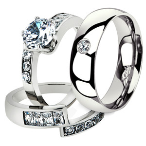 His & Her 3 Pc Stainless Steel 2.50 Ct Cz Bridal Set & Men Zirconia Wedding Band