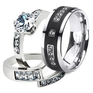 His & Her 3pc Stainless Steel 2.50 Ct Cz Bridal Set & Mens Titanium Wedding Band