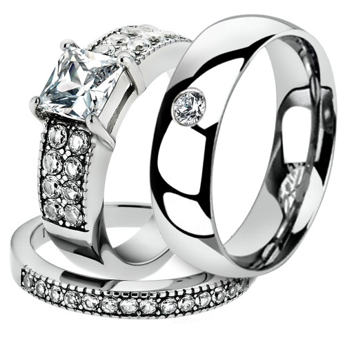 His & Her 3 Pc Stainless Steel 2.07 Ct Cz Bridal Set & Men Zirconia Wedding Band
