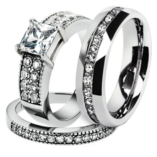 His & Hers Stainless Steel 2.07 Ct Cz Bridal Set & Men's Eternity Wedding Band