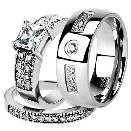 His & Her Stainless Steel 2.07 Ct Cz Bridal Ring Set & Men Zirconia Wedding Band