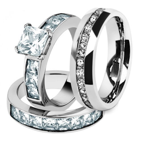 His & Hers Stainless Steel 3.75 Ct Cz Bridal Set & Men's Eternity Wedding Band