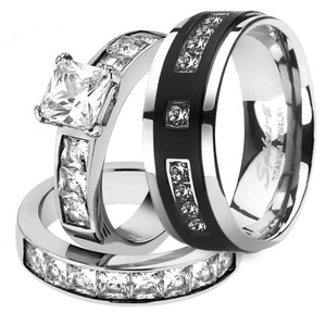 His & Her 3pc Stainless Steel 2.07 Ct Cz Bridal Set & Mens Titanium Wedding Band