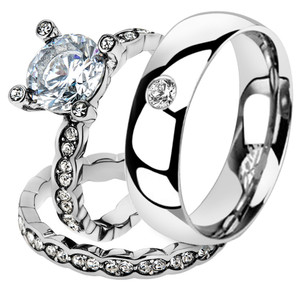 His & Her 3 Pc Stainless Steel 2.25 Ct Cz Bridal Set & Men Zirconia Wedding Band