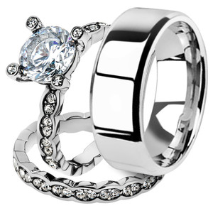 His & Her 3pc Stainless Steel 2.25 Ct Cz Bridal Ring Set & Men Beveled Edge Band