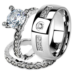 His & Her Stainless Steel 2.25 Ct Cz Bridal Ring Set & Men Zirconia Wedding Band