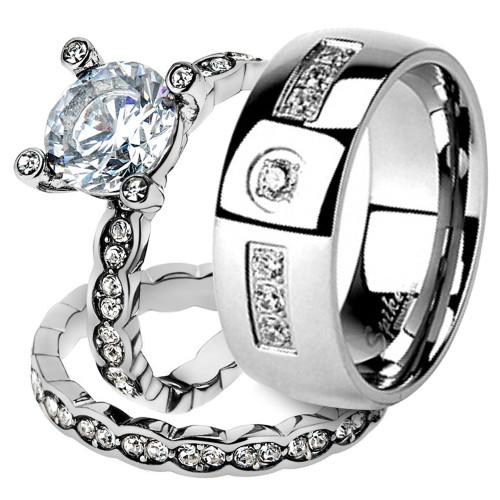 His & Her Stainless Steel 2.25 Ct Cz Bridal Ring Set & Men Zirconia Wedding Band