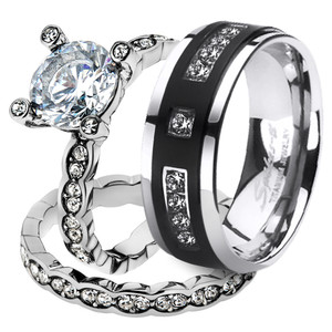 His & Her 3pc Stainless Steel 2.25 Ct Cz Bridal Set & Mens Titanium Wedding Band