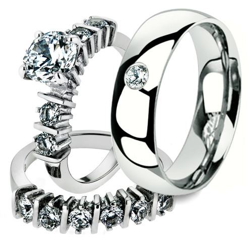 His & Her 3 Pc Stainless Steel 2.38 Ct Cz Bridal Set & Men Zirconia Wedding Band