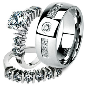 His & Her Stainless Steel 2.38 Ct Cz Bridal Ring Set & Men Zirconia Wedding Band