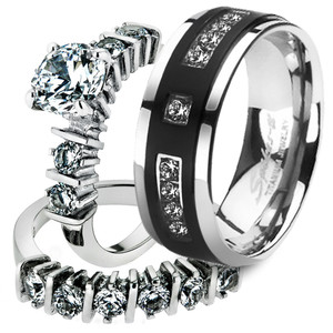 His & Her 3pc Stainless Steel 2.38 Ct Cz Bridal Set & Mens Titanium Wedding Band