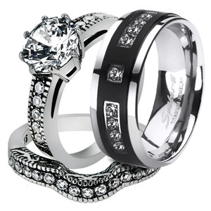 His & Her 3pc Stainless Steel Vintage Bridal Ring Set & Titanium Wedding Band