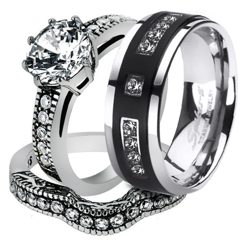 ST1W007ARTI4317 His Her 3pc Stainless Steel Vintage Bridal Ring