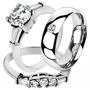 Hers and His Stainless Steel Bridal Engagement Ring Set & Zirconia Wedding Band