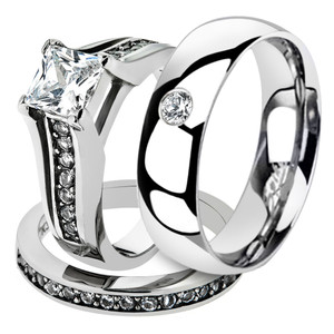 Hers & His Stainless Steel Princess Bridal Ring Set & Mens Zirconia Wedding Band