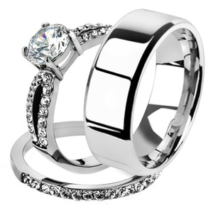 His & Her 3pc Stainless Steel 1.25 Ct Cz Bridal Ring Set & Men Beveled Edge Band