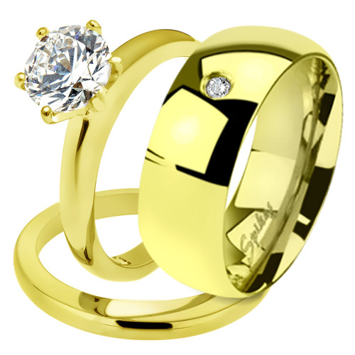 His & Her 2.05Ct Stainless Steel Gold Plated Bridal Ring Set & Men Zirconia Band