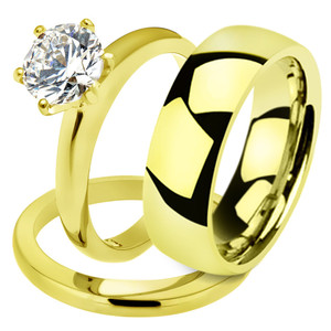 His & Her 2.05Ct Stainless Steel Gold Plated Bridal Ring Set & Mens Classic Band