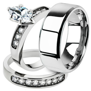 His & Hers 3pc Marquise Stainless Steel Bridal Ring Set & Mens Beveled Edge Band