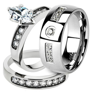 His & Her 3pc Marquise Cz Stainless Steel Bridal Set & Men Zirconia Wedding Band