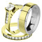 His & Her 14K G.P. Stainless Steel 2.50 Ct Bridal Ring Set & Men's Spinner Band