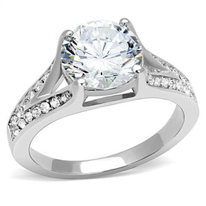 Women's 3.17 Ct Round Cut Zirconia Stainless Steel Engagement Ring Size 5-10
