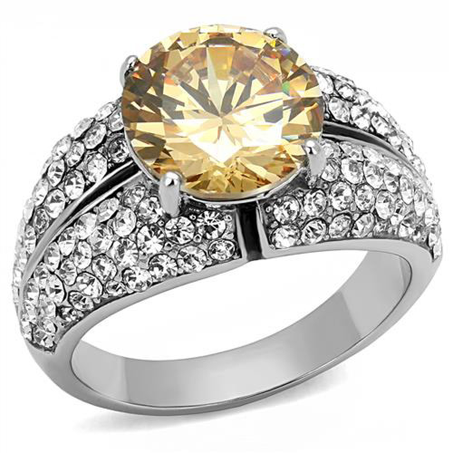 Women's 4.55 Ct Round Cut Champagne CZ Stainless Steel Engagement Ring Size 5-10