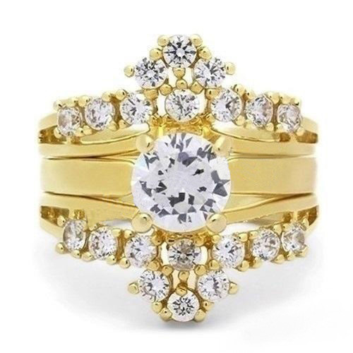 artk2948 188 ct cz 14k gold plated stainless steel 3 piece wedding ring set sizes 5 10 - 3 Piece Wedding Ring Set