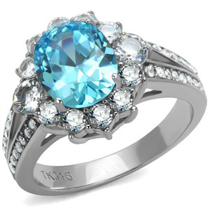 Women's 3.58 Ct Oval Cut Sea Blue CZ Stainless Steel Halo Engagement Ring 5-10