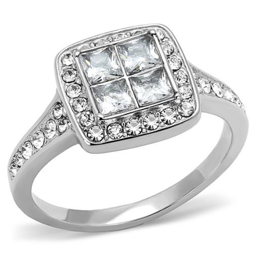 Women's 1.06 Ct Princess & Round Cut CZ Stainless Steel Engagement Ring Sz 5-10