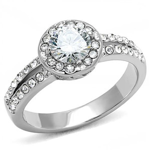 Women's 1.2 Ct Round Cut Zirconia Stainless Steel Halo Engagement Ring Size 5-10