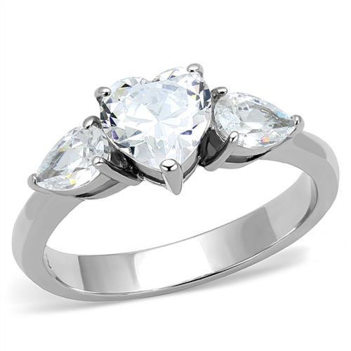 ARTK3138 1.91 Ct Heart U0026 Pear Shape Cz Stainless Steel Engagement Ring  Womenu0027s Size 5 10