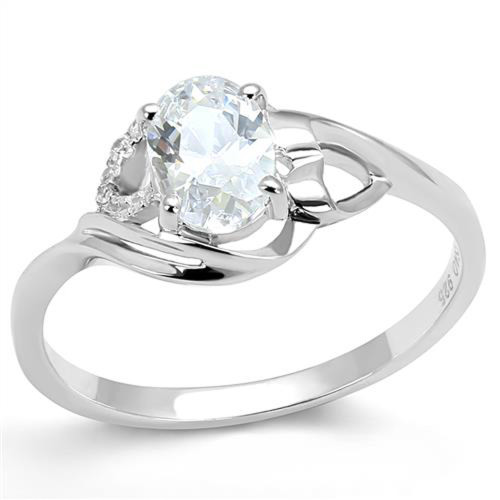 Women's .77 Ct Oval Cut Cz .925 Sterling Silver Rhodium Plated Engagement Ring