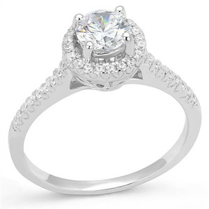 Women's .75 Ct Round Cz .925 Sterling Silver Rhodium Plated Halo Engagement Ring