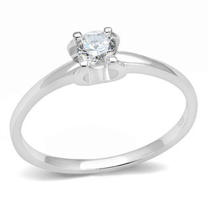 Women's .25 Ct Round Cut Cz .925 Sterling Silver Rhodium Plated Engagement Ring