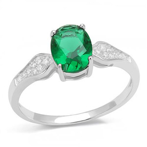 1.2Ct Oval Cut Emerald Green Cubic Zirconia .925 Sterling Silver Engagement Ring