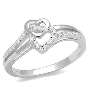 Women's .1ct Round Cut Zirconia .925 Sterling Silver Rhodium Plated Promise Ring