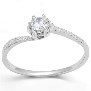 Women's 1/2 Ct Round Cut Cz .925 Sterling Silver Rhodium Plated Engagement Ring
