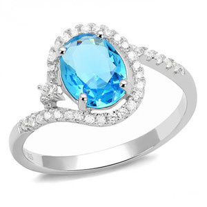 1.3Ct Oval Cut London Blue Synthetic Spinel .925 Sterling Silver Engagement Ring