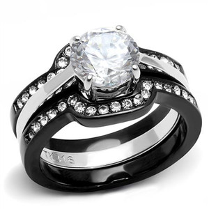Women's 2.25 Ct Round Cut Cz Black Stainless Steel Wedding Ring Set Size 5-11