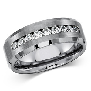 ARCJTI486 Men's Solid Titanium Beveled Edge Center Cubic Zirconia Comfort Fit Wedding Band