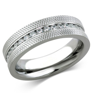 ARCJSS485 Stainless Steel Channel-Set Grooved Pattern Cubic Zirconia Eternity Wedding Ring
