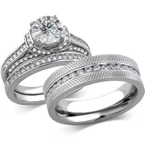 st1919 arcjss485 his hers stainless steel 3 piece cz wedding ring set and eternity wedding band - 3 Piece Wedding Ring Sets