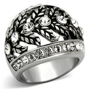 STUNNING WOMEN'S CRYSTAL STAINLESS STEEL ANTIQUE DOME FASHION RING SIZE 5-10