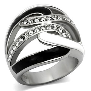 Women's Black & White Epoxy AAA Grade Crystal Stainless Steel Ring Size 5-10