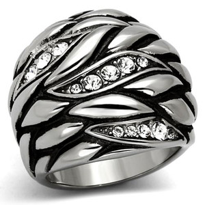WOMEN'S STAINLESS STEEL CRYSTAL ANTIQUE DOME LEAF DESIGN FASHION RING SIZE 5-10